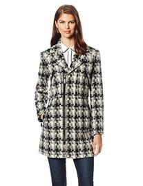 Kenneth Cole New York Women's Tweed Moto Wool Coat, Black/