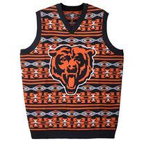 KLEW NFL Chicago Bears Ugly Sweater Vest, Medium, Blue