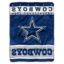NFL Dallas Cowboys Plush Raschel Blanket, 60 x 80-Inch, Blue