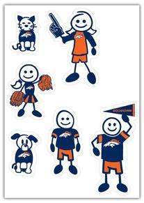 NFL Denver Broncos Small Family Decal Set