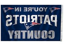"""NFL New England Patriots 3-by-5 Foot """"In Country"""" Flag"""
