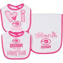 NFL Green Bay Packers Girls 2 Dribbler Bibs & 1 Burp Cloth