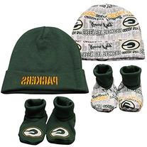 NFL Green Bay Packers Infant Clothing Set, 4-Piece, 2 Caps