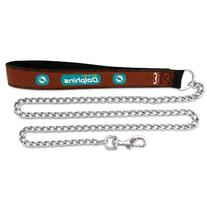NFL Miami Dolphins Football Leather 3.5mm Chain Leash, Large