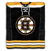 NHL Boston Bruins Jersey Royal Plush Raschel Throw Blanket,