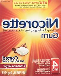 Nicorette Nicotine Gum, 4 mg, Cinnamon Surge, 160 ea