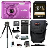 Nikon COOLPIX S3700 Camera  with 32GB SD Card & Battery Pack