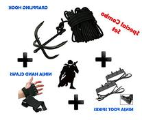 NINJA Combo Set Grappling Hook, Hand claws & Foot Spike