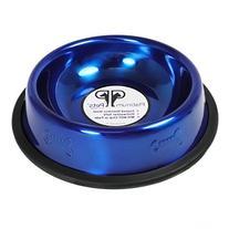 Platinum Pets Non-tip Stainless Steel Cat Bowl, 6 oz, Blue