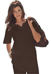 Roamans Women's Plus Size Notch Neck Tunic - Solid Colors