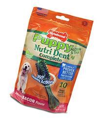 Nylabone Nutri Dent Petite Bacon Flavored Puppy Dog Treats,