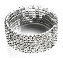 NYBK 7''Bridal Rhinestone Stretch Bracelet Silver Tone -
