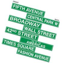 "NYC Street Sign Cutouts Printed on 2 Sides 4"" x 24"