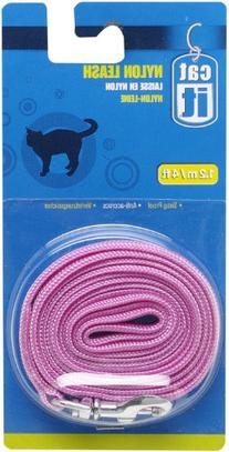 Catit Nylon Cat Leash with Gold-Plated Bolt Snap, Pink