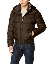 Tommy Hilfiger Men's Nylon Hooded Puffer Bomber Jacket,