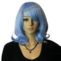 Diy Women's Medium Size Blue Color Oblique Bangs Heat-