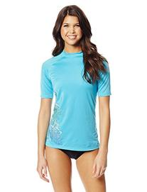 Kanu Surf Women's Oceanside UPF 50+ Rash Guard, Aqua, Small