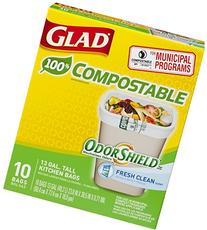 Glad OdorShield 100% Compostable Tall Kitchen Trash Bags,