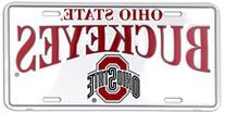 Ohio State Buckeyes White Metal License Plate