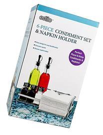 Estilo 6 Piece Oil And Vinegar Condiment Napkin Holder Combo