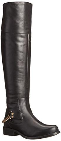 Steve Madden Women's Olgga Motorcycle Boot,Black/Gold,8 M US