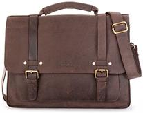 LEABAGS Omaha genuine buffalo leather briefcase in vintage