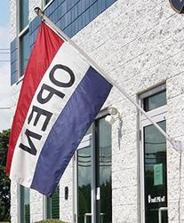 Open Flag Kit Includes Flag, Pole, & Angled Mounting Kit