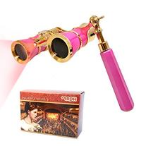 HQRP Opera Glasses Rose / Pink-pearl with Gold Trim w/