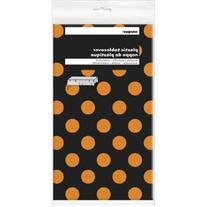 Orange & Black Polka Dot Halloween Plastic Tablecloth, 108""