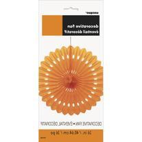 "Tissue Paper Fan Decoration, 16"", Orange"