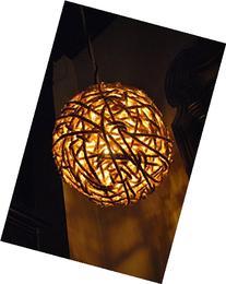 """12"""" Orbital Hanging Lantern, Natural Sisal Rope Light,"""