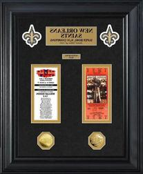 New Orleans Saints Super Bowl Framed Ticket and Game