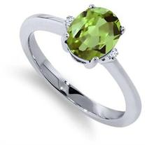 1.35 Ct Oval Green Peridot White Sapphire 925 Sterling