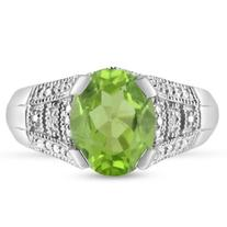 2 1/2ct Oval Peridot And Diamond Ring, Antique Style,