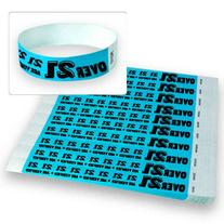 "Over 21 Blue - Wristco 3/4"" Tyvek Wristbands - 500 Ct"
