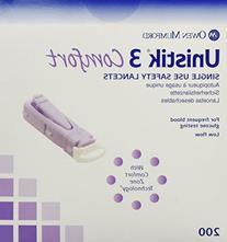 Owen Mumford Unistik 3 Lancets -  Comfort Style Purple -