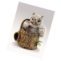 Owlet In Tree Stump Puppet by Folkmanis - 3035
