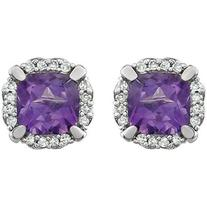 Pre-owned 14K White Gold Amethyst & 1.4ct Diamond Halo