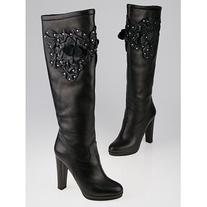 Pre-owned Valentino Black Leather Studded Floral Tall Boots