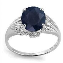 Pre-owned Sterling Silver Black Sapphire & Diamond Ring Size