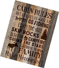 P. Graham Dunn ''Cabin Rules'' 15.5'' x 12'' Distressed Wood