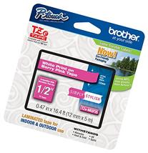 "Brother P-touch ~1/2""  White on Berry Pink Standard"