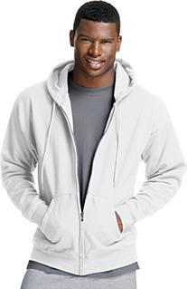 Hanes ComfortBlend EcoSmart Men's Full Zip Hoodie, White, X-