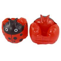 Pair Kids Beach Ladybug Print Inflatable Float Swimming Arm