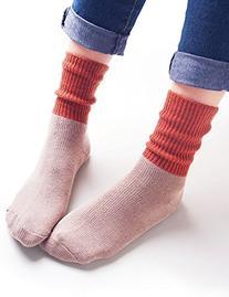 Vero Monte 4 Pairs Women's Color Block Cotton Crew Socks