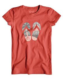 Life is good Girl's Palm Tree Flip Flops Easy Tee , Medium