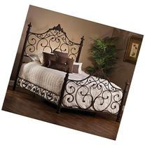 Panel Bed Set with Rails in Antique Brown Finish