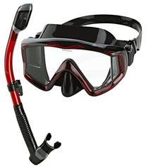 Phantom Aquatics Panoramic Scuba Mask Snorkel Set, Black Red