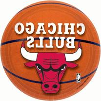 "Amscan Chicago Bulls Dessert Plates, 7"", Multicolored"