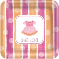 Paper Art Baby Girl 18 Count 9 Inch Square Dinner Plates